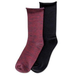 HUE Women's Boot Socks ONE SIZE Burgundy Black
